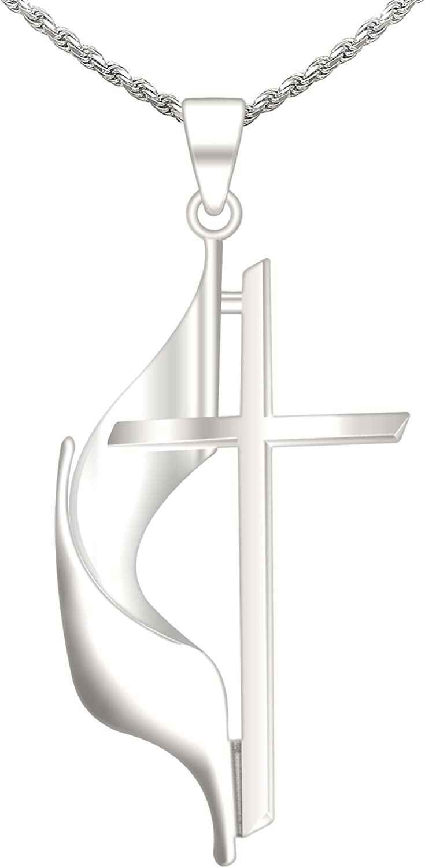US Jewels Ladies 1.125in 14k Cross Year-end gift Philadelphia Mall White Methodist Gold Pendant