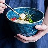 GAXQFEI Tazón de Sopa de Fideos Cocina Japonesa Platos, Platos de Ensalada, Fruta Y Vegetal 950Ml Anti-Slip Anti-Scalding No Se Desvanecen Adecuados para Hornos de Microondas, Lavavajillas,Azul
