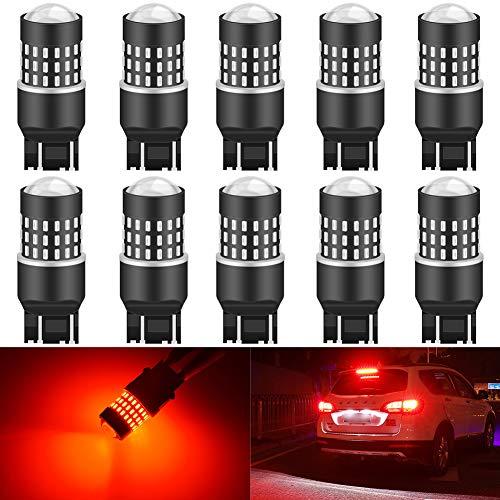 KATUR 7440 7443 992 Ampoule LED 3014 54 chipsets Remplacer pour Clignotant Back Back Stop Frein Arrière Arrêt Feux Parking RV, Rouge Brillant (Pack de 10)