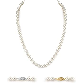 White Freshwater Cultured Pearl Necklace for Women in 18 Inch Length with 14K Gold and AAA Quality - THE PEARL SOURCE