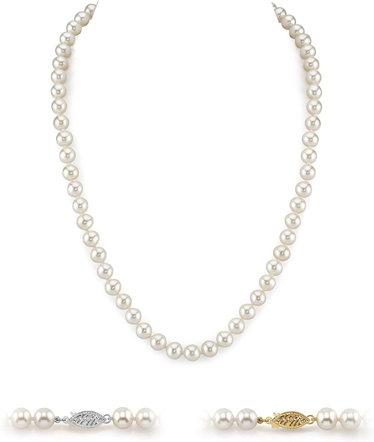 White Freshwater Cultured Pearl Necklace for Women in 20 Inch Length with 14K Gold and AAA Quality - THE PEARL SOURCE
