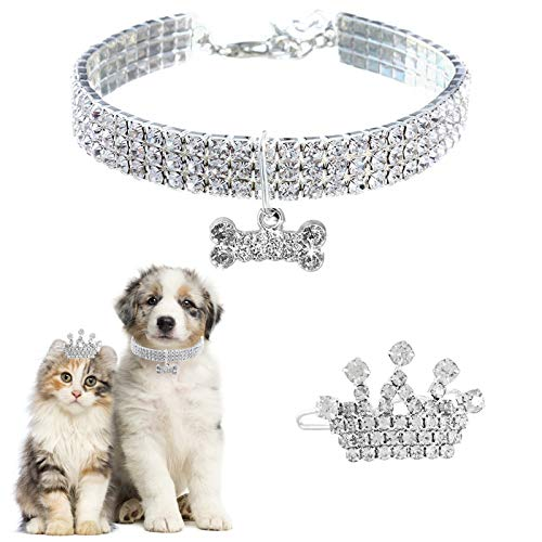 HACRAHO Collar de la Mascota, 1 Pieza de Diamantes de imitación Collar de la Mascota y la Corona del Perro Collares Ajustables para la Boda del Animal doméstico de la Fiesta de cumpleaños, 9.8'