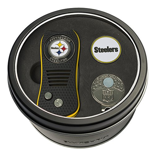 Team Golf NFL Pittsburgh Steelers Gift Set Switchfix Divot Tool, Cap Clip, & 2 Double-Sided Enamel Ball Markers, Patented Design, Less Damage to Greens, Switchblade Mechanism