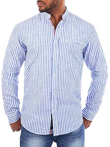 CARISMA Herren Baumwoll Leinen Mix Stehkragen Hemd gestreift Langarm körperbetont Slim Fit leicht tailliert, Grösse:4XL, Farbe:Blau