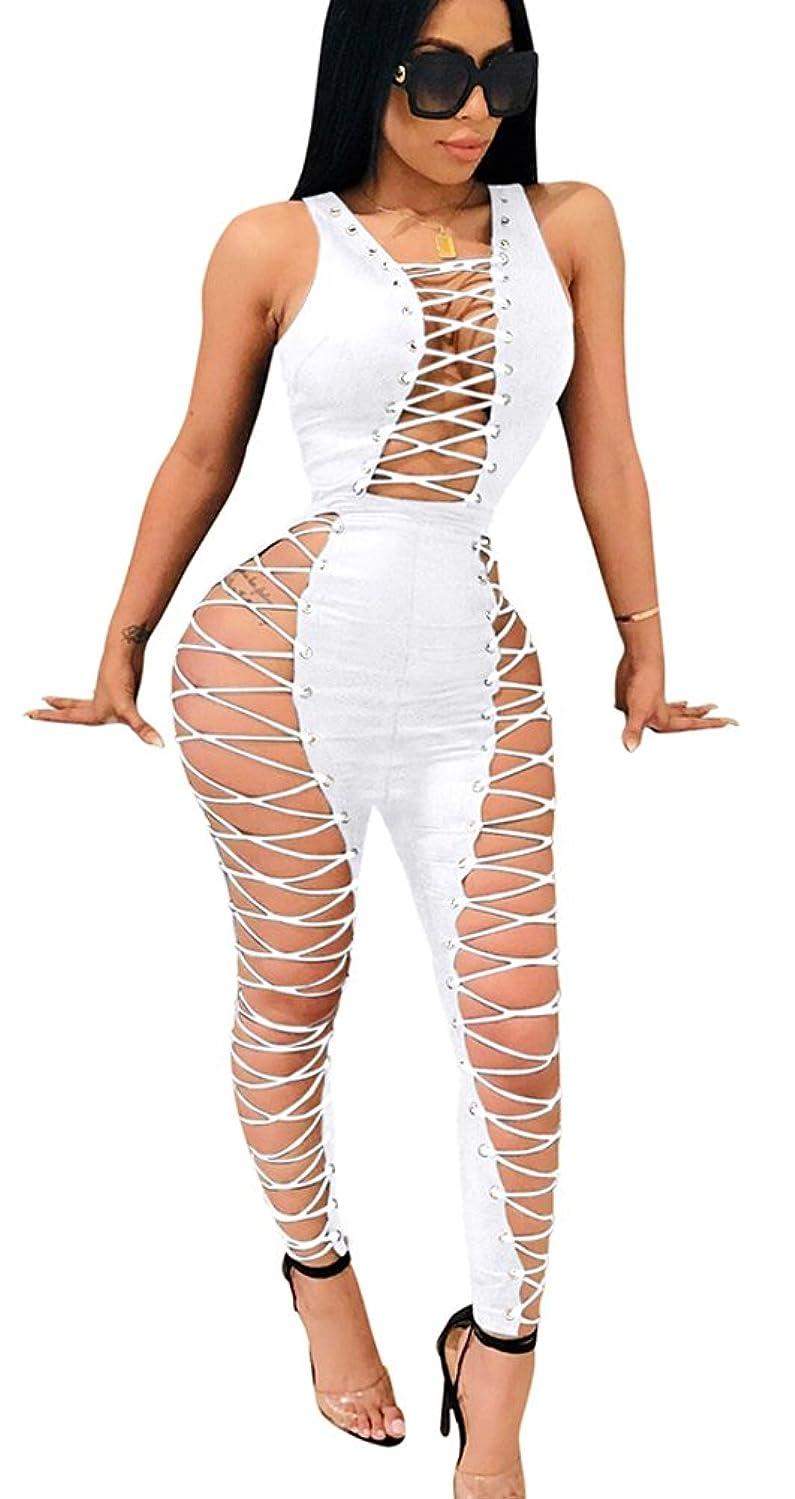 Mintsnow Women's Sexy Deep V Neck Bandage Jumpsuit Lace Up Bodysuit for Party Club Wear