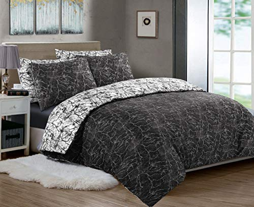 Printed Duvet Cover Set 3 Piece, 100% Cotton Percale 200 Thread Count Reversible Quilt Covers White | Black | Charcoal Grey | Bedding Sets Double King Super King Size (Charcoal & Black, Double)