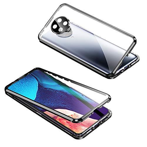 Pengtri Case Compatible with Xiaom i Poco F2 PRO Custodia Guscio in Metallo + Vetro Magnetica adsorbimento Handyhülle Metallo Sottile Trasparente paraurti 360 Gradi Stark Flip Case