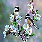 NVFDFF Dipingi per Numero Kit Dipinti ad Olio FAI da te, Uccello sul Ramo di Fiore con pennelli e Pigmento Acrilico Decorazione Della casa 40 x 50cm Senza Cornice