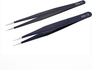 XISENHAN Anti-static Stainless Steel Tweezers Maintenance Tools Industrial Precision Curved Straight Tweezers Repair Tools...