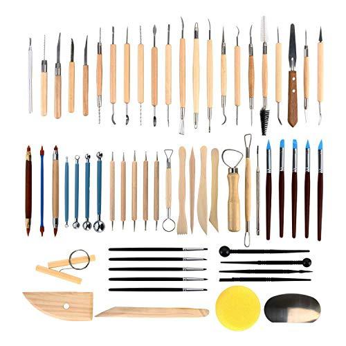 61 teilig Töpferwerkzeug-set Keramik Ton Werkzeugsatz,die Skulptur Schnitzen Werkzeug Fimo Modellierwerkzeug set DIY Ton Clay Sculpting Tool kit für Modellbau,Kerzenherstellung, schnitzarbeiten Töpfer