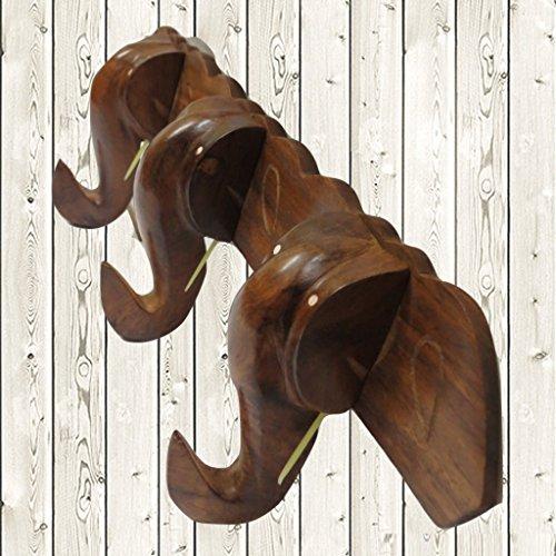 Affaires Vintage Garderobe aus Holz 3Elefant Haken für Kleidung Schals und Mützen, 14Zoll x 4Zoll, durch geben oder Weihnachten Geschenk von Affaires m-40006