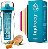 Hydracy Fruit Infuser Water Bottle - 32 oz Sports Bottle - Time Marker & Full Length Infusion Rod + 27 Fruit Infused Water Recipes eBook Gift - Your Healthy Hydration Made Easy…