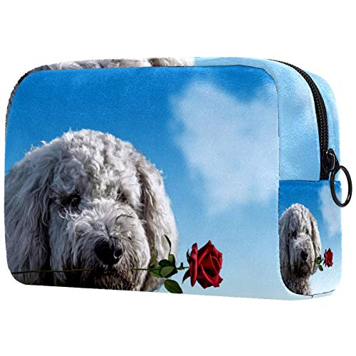 Bolsa de cosméticos para mujer, San Valentín, perro rosa, bolsas de maquillaje, accesorios organizador de regalos