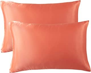 Bedsure Satin Pillowcase for Hair and Skin, 2-Pack - Standard Size (20x26 inches) Pillow Cases - Satin Pillow Covers with Envelope Closure, Coral Orange