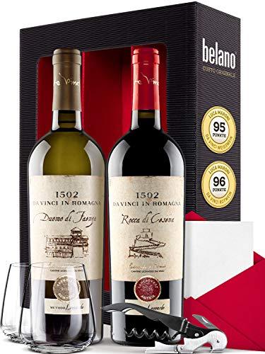 Luca Moroni Sangiovese und Trebbiano 2016 Trocken 2x 750ml - Weingeschenkset inkl. Geschenkkarte Korkenzieher und 2 Gläser