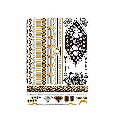Autocollants de tatouage bronzage rétro autocollants de tatouage imperméables ensemble autocollants d'impression de couleur argent chaud-YH-047_148 * 210MM