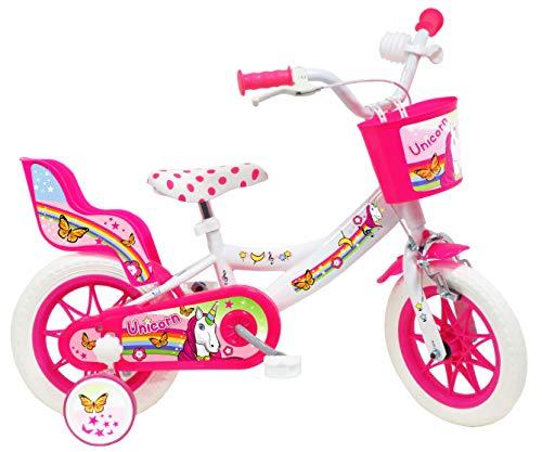 """Denver 12"""" Unicorn - Bicicleta para niño, Color Blanco y Rosa"""