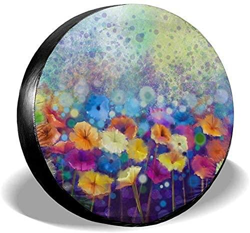 Lewiuzr Cubierta de neumático de Repuesto Impermeable con Pintura de Acuarela de Flor de Margarita Abstracta para Ajuste Universal
