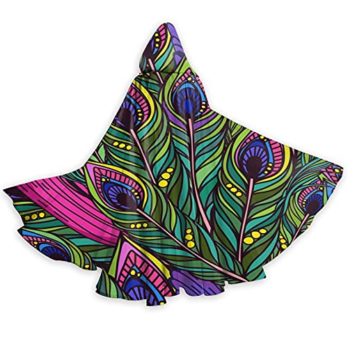 FREEHOTU Colorful Peacock Feathers Hooded Cape Cloak for Halloween Wizard Witch Christmas Hoodies
