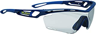 Tralyx Sports Cycling Sunglasses - Blue Navy Matte Frame - ImpactX-2 Photochromic Clear to Black Lens