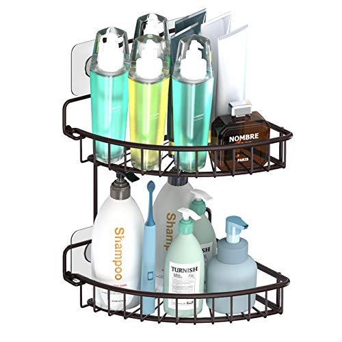SMARTAKE 2 Tiers Shower Caddy, Rustproof Bathroom Shelf with Removable Adhesive, Wall Mounted Corner Storage Organizer Shampoo Holder Rack for Bathroom Kitchen Toilet and Dorm - No Drilling, Bronze