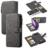 GFU 2-in-1 Detachable Samsung Galaxy S10 Wallet Case, Best Thin Card Holder Leather Magnetic Slim Flip Stand Strap Zipper Removable Purse Wallet Case for Samsung Galaxy S10 for Women Men (Black)