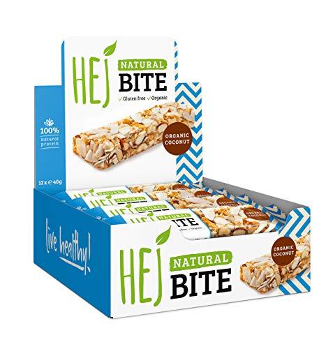 HEJ Natural Bite Organic Coconut - Bio Nussriegel - Ohne zugesetzten Zucker - Energieriegel - Aus 100% Naturprodukten - Veganer Nussriegel - 12 x 40g
