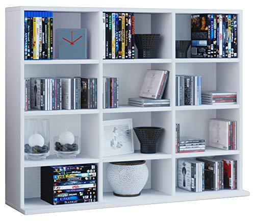 VCM Regal Standregal Medienregal Bücherregal CD DVD Ablage Aufbewahrung Holz Raumteiler Wandregal Weiß