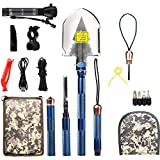 BAALAND Military Folding Shovel, Tactic Survival Shovel with Axe Saw Knife Flashlight Multi Tools for Camping Hiking Outdoor Adventure