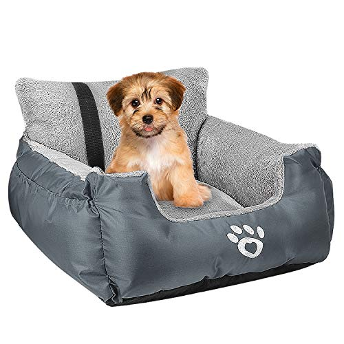 Dog Car Seat,Puppy Booster Seat Dog Travel Car Carrier Bed with Storage Pocket and Clip-on Safety Leash Removable Washable Cover for Small Dog (Grey