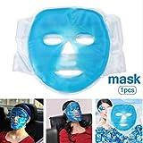 フェイスマスク 冷却マスク 美容マスク 冷温兼用 美容用 再利用可能 理学療法 毛細血管収縮 毛穴収縮 睡眠冷却 疲労緩和 肌ケア 保湿 吸収しやすい コールドパックホットパック 美容マッサージ アイスマスク (ブルー)