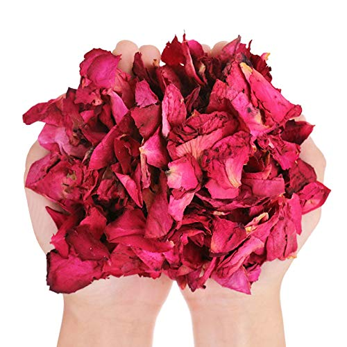 LEBQ 100 Gramos de Pétalos de Rosa Secos Pétalos de Flor Real para Baño Pies Boda Confeti Accesorios de Manualidades, 1 Bolsa