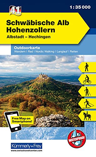 Deutschland Outdoorkarte 41 Schwäbische Alb Hohenzollern 1:35.000: Albstadt-Hechingen. Wanderwege, Radwanderwege, Nordic Walking: Free Download mit ... App (Kümmerly+Frey Outdoorkarten Deutschland)