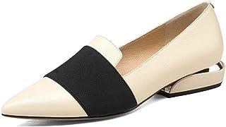 Nine Seven Women's Genuine Leather Pointed Toe Flat Heel Handmade Comfortable Flat Shoes