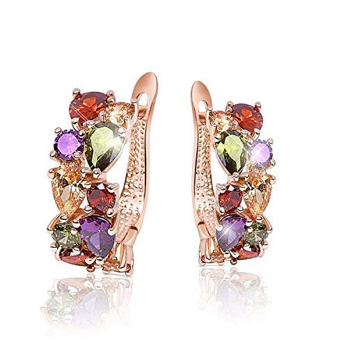 Sparkle Forever Collection AAA Cubic Zrn Multi color Stone Hoop Earrings For Women