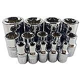 14pcs / set e Torx Star Socket Female Bit Socket 1/2 pulgadas 3/8 pulgadas 1/4 pulgadas de unidad E4 - Juego de herramientas de mano de herramienta de reparación E24 (Color : Silver)