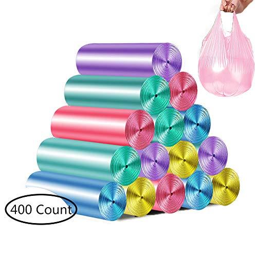 Luckylj Bolsas De Basura De Chaleco,Plástico Transparente para Cocina,para Papeleras para Contenedores De Oficina En El Hogar, 45 X 60 Cm, 20 Rollos (400 Unidades),Multicolor