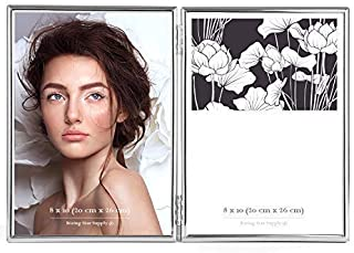 Rising Star Silver Plated Double Picture Frames 8x10 Hinged Photo Frame, Folding Metal Glass Frame 8 x 10 Side by Side Dual Picture Frame