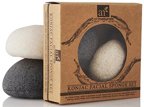 Art Naturals Konjac naturel éponges de bambou fibres de charbon de bois et légumes - 2-Pack (noir et blanc)