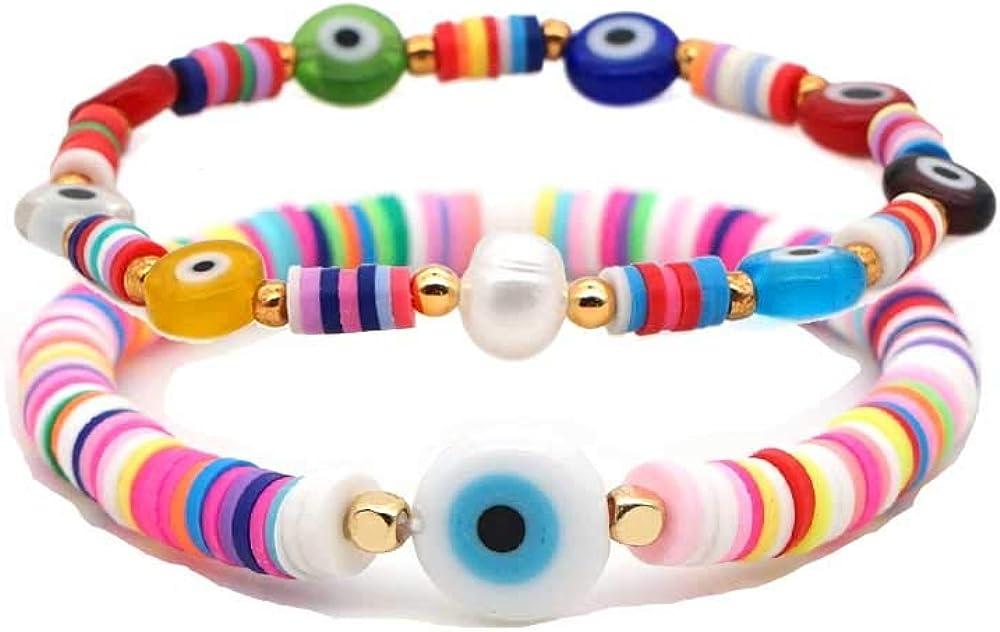 2Pcs/Set Rainbow Clay Beads Evil Eye Bracelets Set Stackable Beaded Handwoven Colorful Bracelet Surfer Summer Boho Layering Friendship Jewelry for Women Men Girls Boys Beach Gift