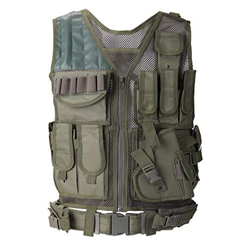 Lixada Gilet Tattico, Gilet Tattico da Assalto Maglia per Caccia Protettivo Esterno Gilet da Allenamento per Aperto Campeggio Escursionismo