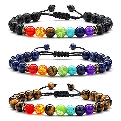 Women Mens Chakra Bracelet Gifts - 8mm Chakra Bracelet for Women, 7 Chakras Yoga Anxiety Bracelet Mens Bracelet Beads Lava Rock Bracelet Aromatherapy Essential Oil Diffuser Bracelet Gifts for Women