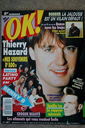 OK ! âge tendre 791 MARS 1991 COVER THIERRY HAZARD VANILLA ICE LATINO PARTY BENNY B CARTOUCHE DANCE AVEC LES LOUPS