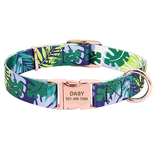ZIGONG Collar De Perro Ajustable Personalized Dog Collars Engraved Dog ID Tag Collar Anti-Lost Nylon Pet Collars For Small Medium Large Dogs Pink,Blue,S