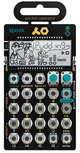 Teenage Engineering PO-35 Speak Vocal Synthesizer und Sampler (Integriertes Mikrofon, 8 integrierte Voice-Characters, 16-Step Sequencer, 8 Effekte & LCD Display)