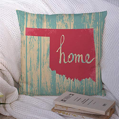 Decorative Square Throw Pillow Covers Oklahoma Nostalgic Rustic Local Inspiration Vintage State Signs Text Symbols National Sign Grungy Polyester Cushion Pillowcase for Car Home Decoration 20x20 Inch