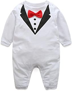 suit and tie White Romper For Boys Comfy Cotton Romper for Baby Boys Breathable Skin-friendly Short-sleeve Jumpsuit Unisex...