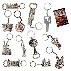 Image: New York NYC Bundle Souvenir Metal Keychain | Statue Of Liberty, USA Flag, World Trade Center, Empire State Building, Bottle Opener and More | Bonus a Race Day Car