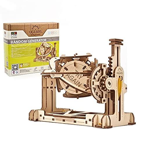UGEARS STEM Lab 3D Puzzle - Der Zufallsgenerator STEM Set - Modellbausatz aus Holz - Kreatives STEM Spielzeug mit App - Mechanischer Modell Holzbausatz - 3D Holzpuzzle für Erwachsene und Kinder 8+