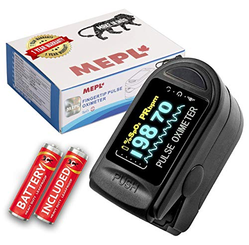 MEPL Made in India Digital LED spo2 Pulse Oximeter fingertip For Oxygen Level With Battery Included (CE Certified, 1 Year Warranty, Black)